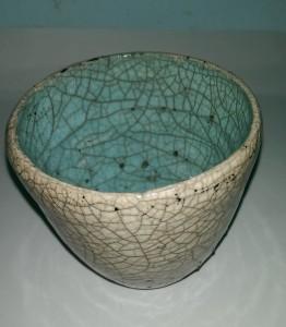 Raku fired bowl, Jill Rutter