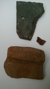 Roman tiles and fragment of Samian ware