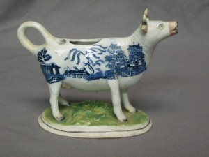 Cow creamer in the Keiller collection at the Potteries Museum
