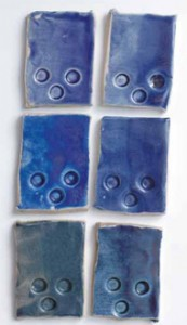 Glaze test tiles, Linda Bloomfield