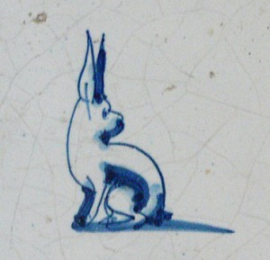 Cobalt painted Delft tile, Netherlands