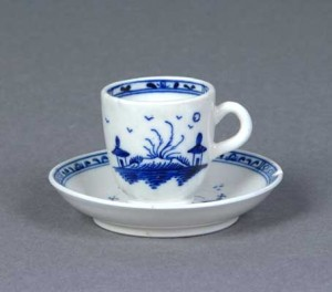 Caughley Porcelain coffee cup, circa 1780