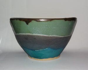 Stoneware bowl, matt glazes, Jill Rutter